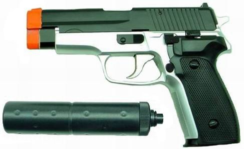 Hfc Sg226 Airsoft Pistol With Mock Silencer (2-tone)