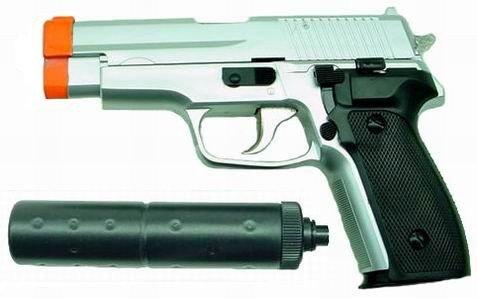 Hfc Sg226 Airsoft Pistol With Mock Silencer (silver)