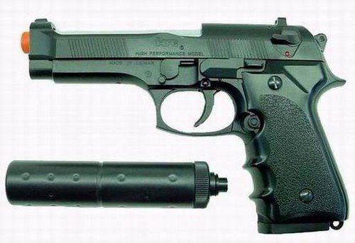 Hfc M92fs Replica Airsoft Pistol With Silencer(black)