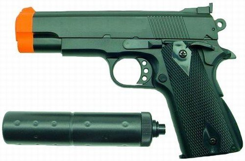 Hfc M1911 Replica Airsoft Pistol With Silencer (black)