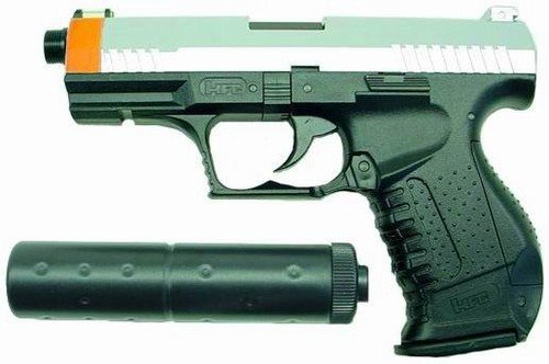 Hfc P99 Replica Airsoft Pistol With Silencer (2-tone)