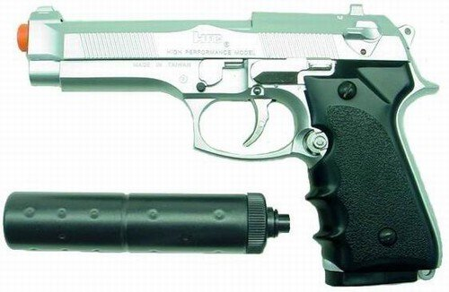 Hfc M92fs Replica Airsoft Pistol With Silencer(silver)