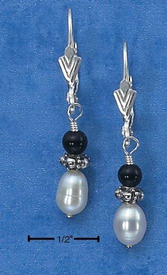 Pearl and onyx Dangling Earrings