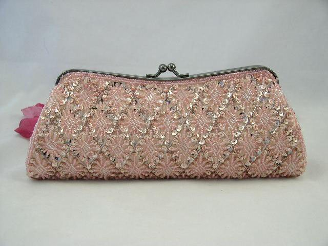 Elegant CHAMPAGNE Beaded Rhombic Evening Clutch Purse Evening Bags