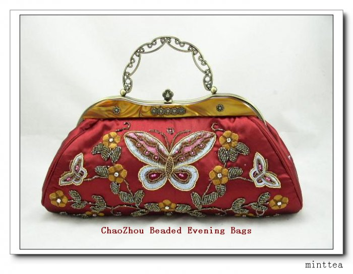 Red Satin Beaded Butterfly Handbag or Shoulder Carry
