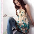 Korea Girl Lovely Floral Chiffon Tube Dress - Blue and Red F1-H826-BU  #0103
