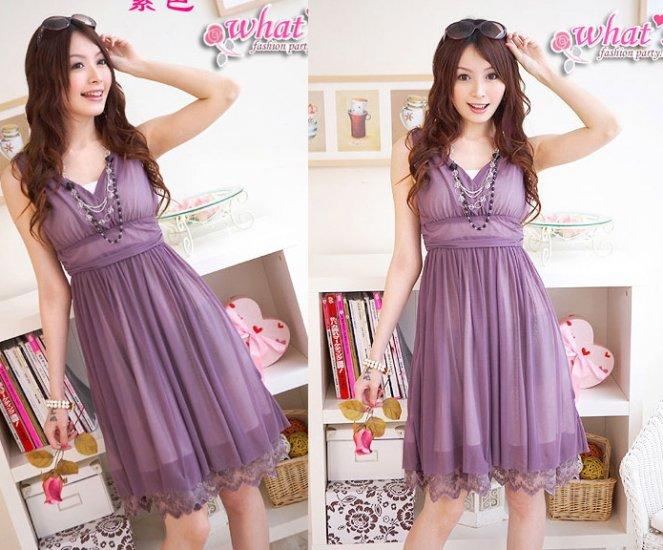 Korea Girl Fashionable Sleeveless V-Neck Tight Waist One-Piece Dress-Purple S23-01 #0018
