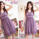 Korea Girl Fashionable Sleeveless V-Neck Tight Waist One-Piece Dress-Purple S23-01 #0018