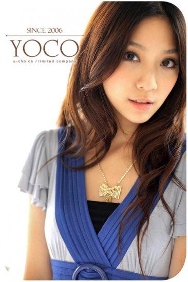 Korea Girl Fashionable Short Sleeve V-Neck Belted One-Piece Dress #0060