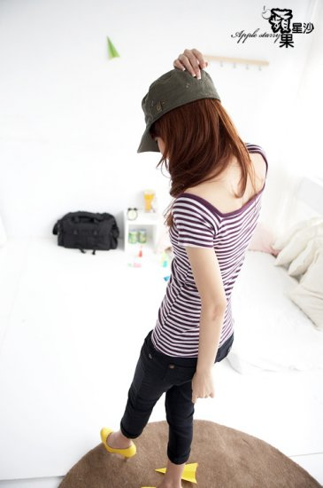 Concise Style Short Sleeve Square-cut Collar Striped T-shirt #0064