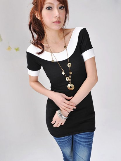 Korean Novelty Style round Collar Colorful Short Sleeve T Shirt  #0089