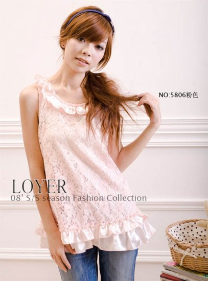 Sleeveless Crewneckwith Draped Bordering Hollow Flower dress � Pink #0117