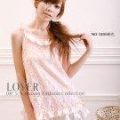 Sleeveless Crewneckwith Draped Bordering Hollow Flower dress – Pink #0117