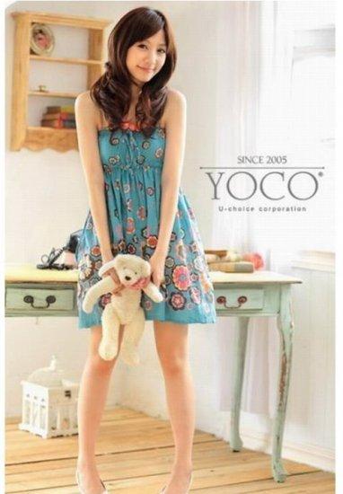 Korean Style Circle Motiff Skirt Dark Blue #0151