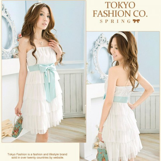 Japanese Fashion Sweet layered Dress White #601