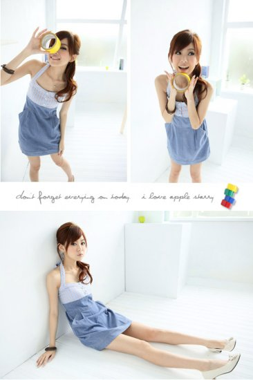 Korea Style Strap off Neck Dress #0421