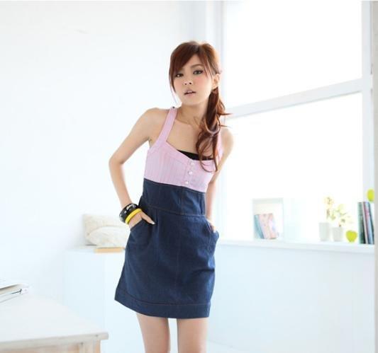 Korea Style Strap off Neck Dress #0421