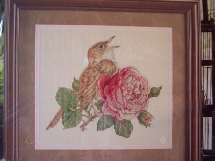 Rose & Nightingale  Cross Stitch Kit New
