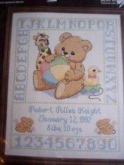 Bear Birth Sampler Cross Stitch Kit New