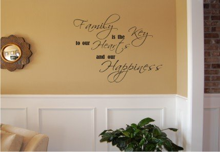 Vinyl Wall Decal Art - Family is the Key...