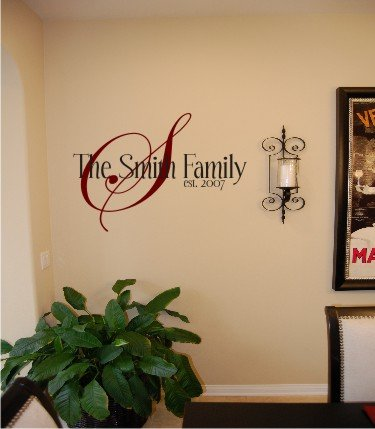Vinyl Wall Decal Art - Family Name Monogram with Date