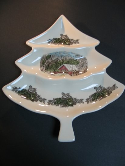 Johnson Brothers Friendly Village Large Christmas Tree Candy or Sweet Dish New in Box