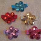 Sequin Flower Hair Clips - Set of 5