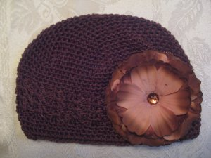 Brown Kufi hat with brown flower
