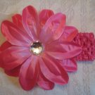 Tropical Flower with gem Headband - Hot Pink