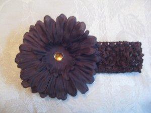 Crochet headband with matching gerber daisy - brown