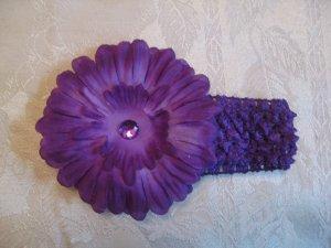 Crochet headband with matching gerber daisy - purple