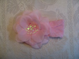 Nylon Headbands with matching sequin center flower - light pink