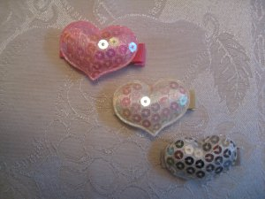 Puffed Heart Flower Hair Clips - Set of 3