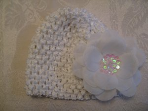 Infant beanie waffle hat - white