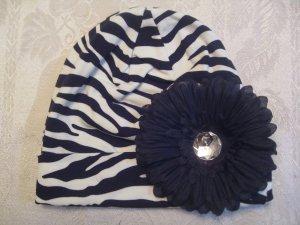 Toddler Zebra cotton beanie with black  flower
