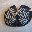 Two layer satin bow alligator clip - zebra