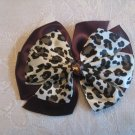 Two layer satin bow alligator clip - cheetah