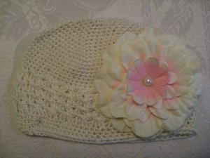 Ivory Kufi hat with ivory flower