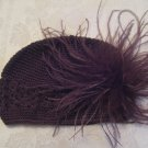 Brown Kufi hat with brown ostrich fur clip