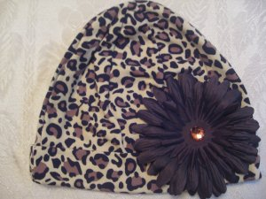 Toddler Cheetah cotton beanie with brown flower