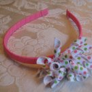 Hard Korker Headband - pink, white, lime green