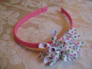 Hard Korker Headband - pink, white, lime green