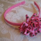Hard Korker Headband - brown and pink polka dots