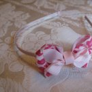 Hard Bow Headband -  pink and hot pink cheetah