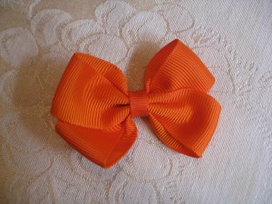 Handmade Bow Alligator Clip - Orange