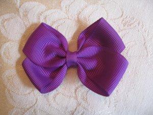 Handmade Bow Alligator Clip - purple