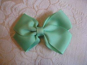 Handmade Bow Alligator Clip - lime green