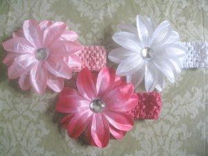Infant/Toddler crochet Tropical flower headband mix- 3 Headbands