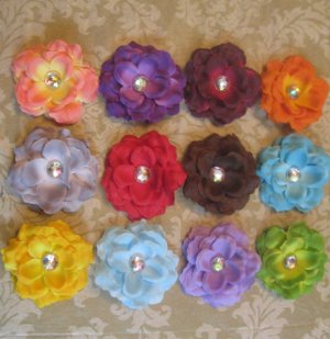 3 inch small rose Hair Clips - Pick 6