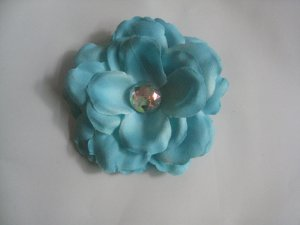 3 inch small rose Hair Clip - Teal